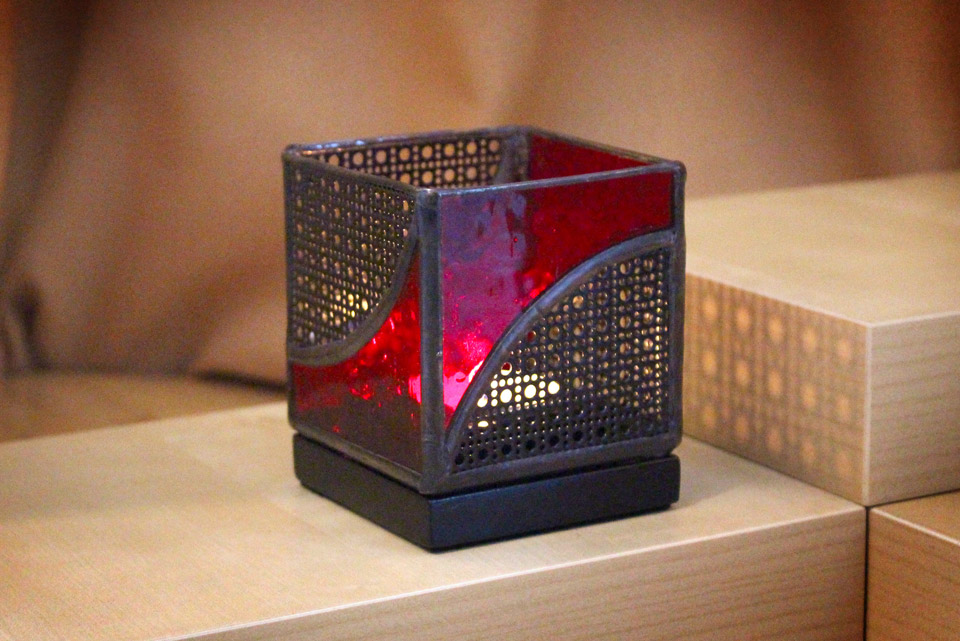 Stained Glass Mission Candle Holder 3×6 Kris Art Glass