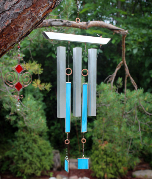 InDustrial Zen Wind Chime - Cyan (outside)