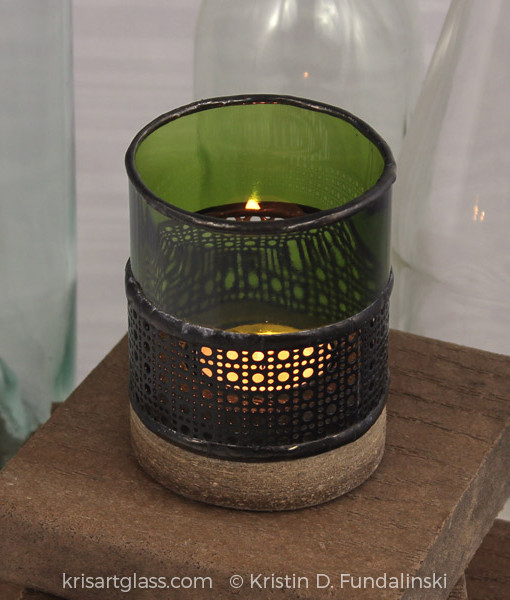 Fundalinski - Wine Candle Holder - green