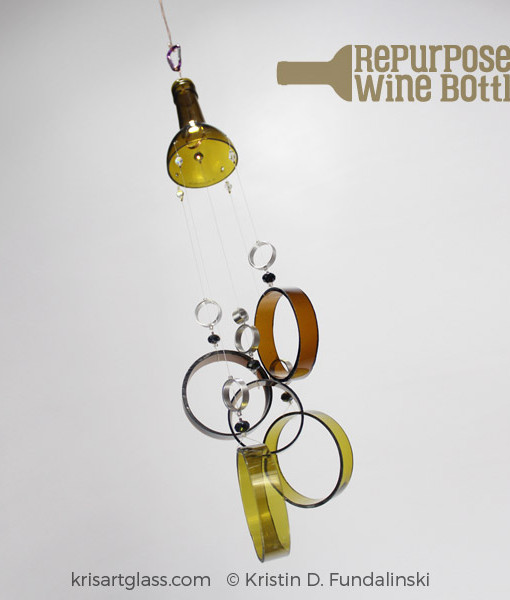 Fundalinski - Wine Bottle Wind Chimes - Green
